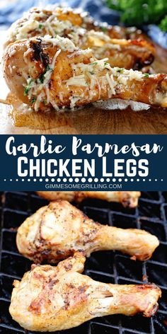 Tender, juicy chicken legs that are brushed with a delicious Garlic Parmesan sauce! Such a great and easy dinner recipe! Tender, juicy chicken legs that are brushed with a delicious Garlic Parmesan sauce! Such a great and easy dinner recipe! Chicken Leg Recipes Oven, Chicken Drumstick Recipes, Grilling Chicken, Rotisserie Chicken, Grilled Chicken Legs, Grilled Chicken Recipes, Chicken Kabobs, Grilled Meat, Healthy Chicken