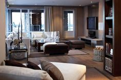 Livingroom Layout and Palette Cozy Living Rooms, Living Spaces, Apartment Design, Home Decor Bedroom, Built Ins, Family Room, New Homes, Lounge, Interior Design