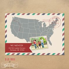 Moving Card Printable - United States Map New address card. $15.00, via Etsy.
