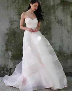The Juno silk organza bridal gown is equal parts dreamy and chic. With a ballgown silhouette and softly striped skirt, this wedding dress is one-of-a-kind. Organza Bridal, Silk Organza, Chic Wedding Dresses, Colored Wedding Dresses, Bridal Looks, Ball Gowns, Blush, Wedding Inspiration, Bride