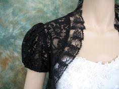 Black short sleeve corded lace wedding boleros