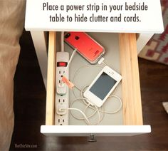 Clever ! Clutter Free Bedroom Charging Station Storage