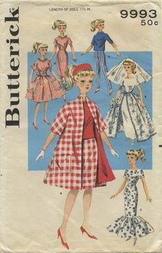 Vintage Barbie™ Doll Clothes Sewing Pattern | Teen Age Doll Wardrobe | Butterick 9993 | Year 1961 | Doll Length 11½"