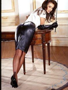 Garter Bumps Under Tight Black Leather Pencil Skirt White Blouse Black Leather Gloves Sheer Black Back Seam Stockings and Black Stiletto High Heels