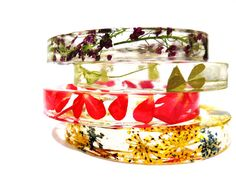 Real Floral Botanical Resin Bangle. Sweatheart Collection