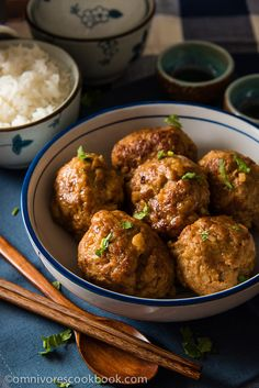 Chinese Lion's Head Pork Meatballs (狮子头) - Enjoy a healthier version of the tender and moist meatballs Meatball Recipes, Pork Recipes, Asian Recipes, Cooking Recipes, Ethnic Recipes, Chinese Recipes, Cooking Time, Asian Meatballs, Pork Meatballs