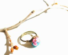 Cherry blossom brass wire ring by EverythingNiceDesign on Etsy, $10.00