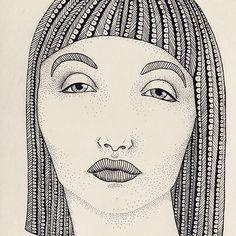 C L E O P A T R A 👑 👑 👑    #kween #illustration #fineline #dotwork #cleopatra #myart #pattern