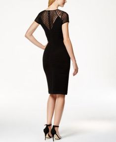 Calvin Klein Cap-Sleeve Banded Sheath Dress