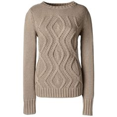 Lands' End Women's Petite Cotton Cable Sweater - Drifter ($59) ❤ liked on Polyvore featuring tops, sweaters, tan, petite tops, cotton sweaters, chunky sweater, lands end sweaters and chunky cable knit sweater