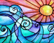 Surfs Up  sunset sun art print painting beach waves ocean art  print water beach painting waves print sunrise art