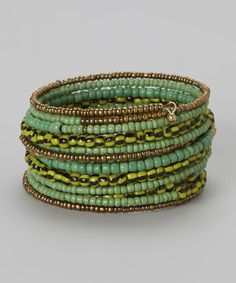 Another great find on #zulily! ZAD Gold & Green Bead Coil Bracelet by ZAD #zulilyfinds