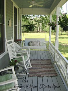 painted and stained porch via glassslipperrestorations.com