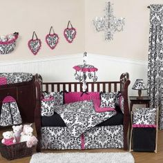 Isabella Hot Pink, Black & White Bedding by JoJo Designs - Baby Crib Bedding - isabella-pk-9