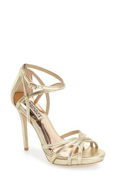 Badgley Mischka 'Leon II' Metallic Ankle Strap Sandal (Women)