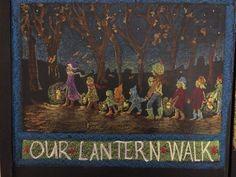Martinmas lantern walk blackboard drawing Waldorf Blackboard Drawing, Chalkboard Drawings, Chalk Drawings, Chalkboard Art, Thanksgiving Chalkboard, Fall Lanterns, Lantern Craft, Waldorf Crafts, Sun And Stars