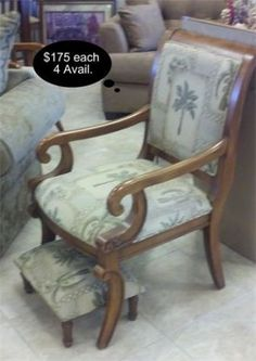 Sturdy wood armed chairs with custom Tommy Bahama style Palm Tree upholstery. ~$175 each    YESTERDAYS TREASURES CONSIGNMENT    5829 LONE TREE WAY SUITE J    ANTIOCH    925 - 233 - 4547