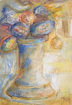 Tóth Menyhért (1904-1980) Virágok talpas vázában, 1957 körül Art, Painting