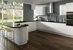 White High Gloss Kitchen Brings Beauty in Each Unit : Brown Floor Of White And Simple High Gloss Kitchen Designs