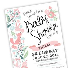 Baby Girl Shower Invitation Printable Customized by crazyfoxpaper
