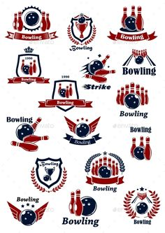 Buy Bowling Club or Tournament Icons and Symbols by VectorTradition on GraphicRiver. Bowling club or tournament icons and symbols design in red and blue colors with balls, ninepins, strikes and trophy c. Symbol Design, Logo Design, Graphic Design, Club Poster, Ribbon Banner, Bowling Shirts, Game Icon, Cup Design, Card Templates