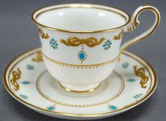 6 SETS BOUILLON CUPS /& SAUCERS ANTIQUE CAULDON CHINA L4142 RAISED GOLD ENCRUSTED