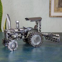 Unique Mexican Recycled Metal Tractor Sculpture - Rustic Tractor | NOVICA