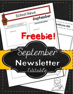 Free ~ Newsletter ~ Newsletter ~ Read All About it! Freebie!!! Start the year off right with a Free September Newsletter Template! This is a 3 page power point document includes teacher tips, and a September newsletter template