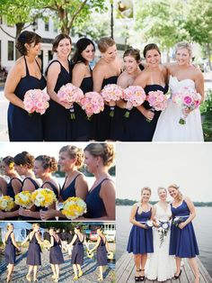 I like the top picture. The blue dresses with the pink flowers. Nautical Wedding Ideas 2014 Blue Bridesmaid Dresses trends
