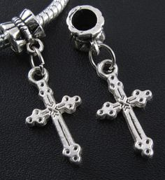 Cross Charms Dangle  Beads Fits European by WhitePineBeads on Etsy, $2.25