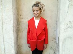 Girls wool coat designer shape big shawl collar/ by ForCutiesKids