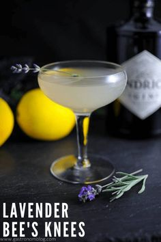 A variation on the classic cocktail, Bee's Knees, our Lavender Bee's Knees uses Hendrick's Gin, lavender simple syrup, a splash of honey and fresh lemon. Lavender Drink, Lavender Cocktail, Lavender Syrup, Lavender Honey, Lavender Martini, Spring Cocktails, Classic Cocktails, Craft Cocktails, Fun Drinks