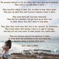 Quote by relationship author Shannon L. Alder that really captures what it means to be a mom.