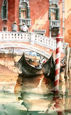 Landscaping Architecture Lake - - - Landscaping Around Trees With Wood Watercolor City, Watercolor Water, Watercolor Sketch, Watercolor Landscape, Landscape Paintings, Watercolor Paintings, Watercolours, Venice Painting, Watercolor Architecture