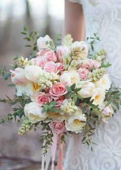 A blush wedding bouquet. Perfect for a spring wedding. Summer Wedding Bouquets, Bride Bouquets, Floral Bouquets, Tulip Bouquet Wedding, Greenery Bouquets, Pastel Bouquet, Blush Bouquet, Bouquet Flowers, Wedding Dresses