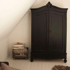 black armoire Armoire Makeover, Furniture Makeover, Home Furniture, Refurbished Furniture, Vintage Furniture, Painted Furniture, Painted Armoire, Wardrobe Furniture, Shaker Furniture