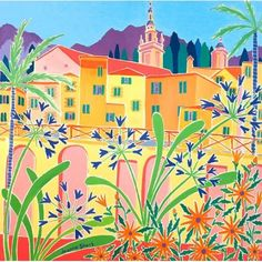Agapanthus in the Old Town, Menton. France. Original Painting by Joanne Short