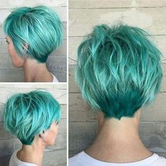 Long Pixie Cut For Hairstyles And Haircuts Is Amazing Fashion.Pixie cuts are thus versatile today and long pixie cuts and pixies with bangs have gotten a lot of and a lot of in style. thus here are the pics of Longe Pixie Cut we have a tendency to Love! Mint Green Hair, Green Hair Colors, Blue Hair, Short Teal Hair, Short Hair In Back, Short Hair For Round Face Plus Size, Colored Short Hair, Purple Pixie Cut, Color Blue