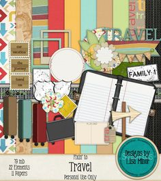 Fixin' to Travel Digital Scrapbook Kit, travel scrapbook, journal scrapbook, travel clip art, suitcase, digital scrapbook papers, travel papers, road signs, digital travel, digital journal