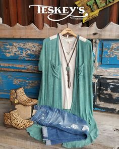 Outfit of the day!  Like our style? Come follow Teskey's Instagram!   New cheetah booties by roper,  tops by Scrapbook,  jeans by Big star and beautiful braided leather turquoise necklace!   #Teskeys #killingit #OOTD