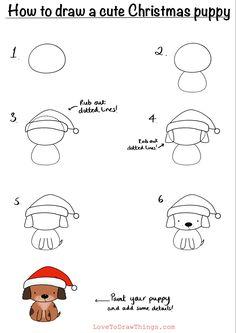 Easy Doodles Drawings, Easy Doodle Art, Easy Drawings For Kids, Simple Doodles, Art Drawings Sketches, Drawing For Kids, Cute Drawings, Art For Kids, Easy Christmas Drawings