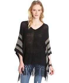 Love Stitch black and butter navajo v-neck fringe sweater