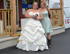 I caught this bride and bridesmaid making a pit stop at the High Street Market in between the wedding and reception, and they were nice enough to pose.