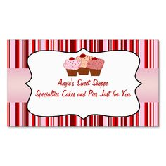 Sweet Shoppe Cupcake Business Card. I love this design! It is available for customization or ready to buy as is. All you need is to add your business info to this template then place the order. It will ship within 24 hours. Just click the image to make your own!