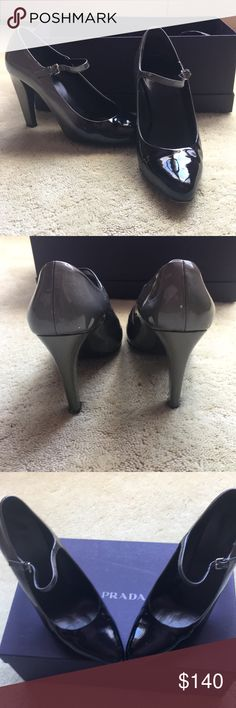 Prada Gray Ombre Mary Jane Pumps These shoes have only been worn twice. They are in like new condition and come with the original box. They are extremely comfortable and great for any occasion! Prada Shoes Heels