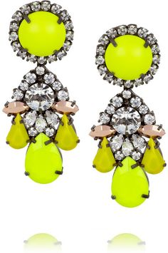 Shourouk Marguerite silver-plated Swarovski crystal earrings