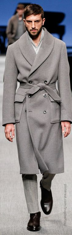 Taupe Cashmere & Alpaca Shawl Collar 'Robe' Style Overcoat, by Canali, Mens Fall Winter Fashion.