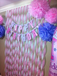 First birthday decor on a budget for my Sophia. Pink and lavender princess party. Party city, dollar tree, streamers, tissue paper Pom poms