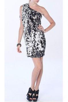 aidan Mattox Shimmering Sequin Cobalt Blue One Shoulder Dress ...