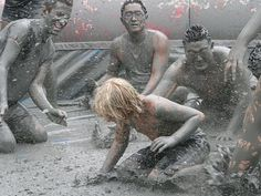 Boryeong Mud Festival in Boryeong, South Korea: The mineral-rich muds from the Boryeong Mud Flats, a region located outside of Seoul, are used in the manufacture of high-end Korean cosmetics. To take advantage of the supposed medicinal value of the mud, tens of thousands of Korean and international tourists flock to Boryeong in July for mud wrestling, slinging and other antics at the Boryeong Mud Festival.